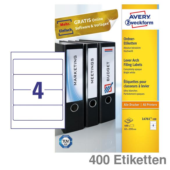 B x H 62 x 192 mm Soennecken Ordneretikett selbstklebend breit//kurz 10 Etik.//Pack. wei/ß